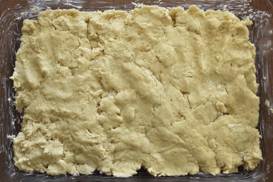 Pressed sourdough shortcake uncooked pressed into 9x13 baking dish