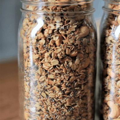glass mason jar filled with homemade granola