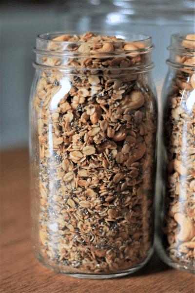 32 oz glass mason jar filled with homemade granola