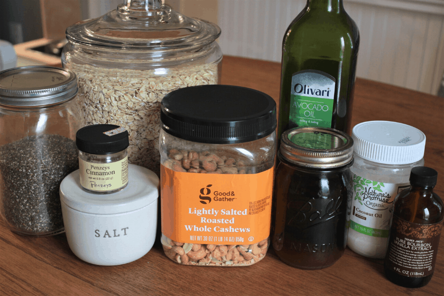 ingredients for easy homemade granola