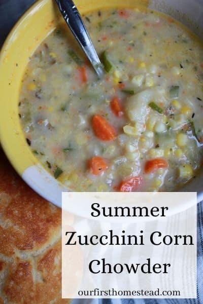 zummer zucchini corn chowder recipe pin
